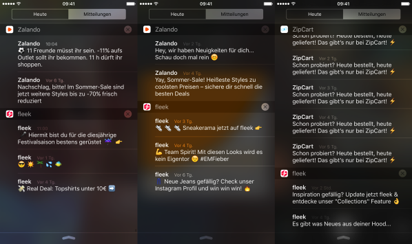 Wie unterschiedlich Zalando Mobile mit Notifications arbeitet 259629119f