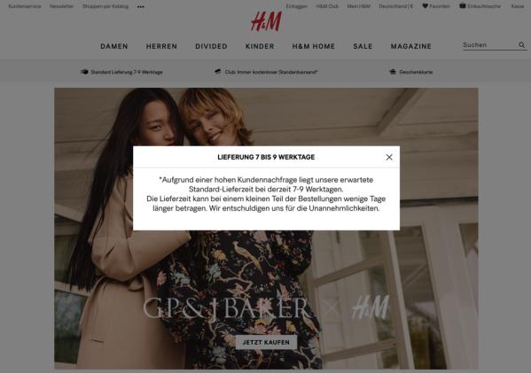 Offiziell Hm Lässt Online Kunden 7 Bis 9 Werktage Warten