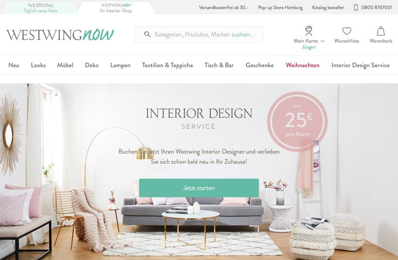 """Westwing testet """"Interior Design Service"""" für 25 € pro Raum"""
